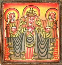 An Ethiopian Icon of the Coronation of Mary.
